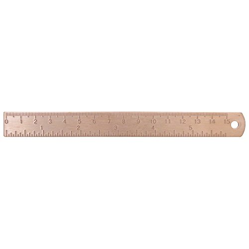6 Inch Brass Ruler - Etched Markings - Durable Tiny Ruler, Ideal for Bullet Journals, Notebooks, Planners, Diaries And As a Bookmark. Fits in Inner Pocket - Marked with IN ()