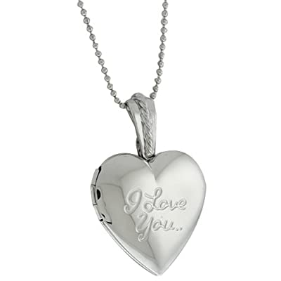 Stunning Heart Shape with I Love You Engraved Locket Pendant With 28 Inch Chain