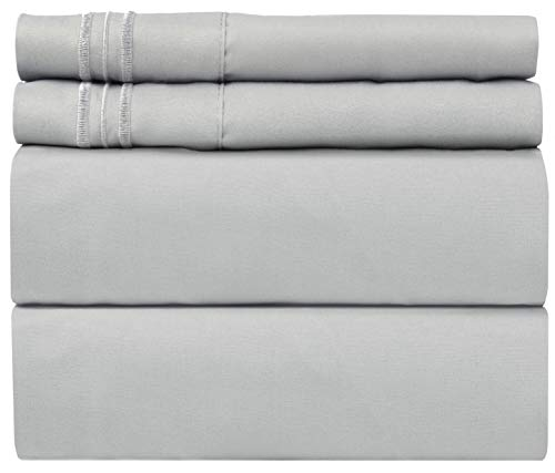 Queen Size Sheet Set - 4 Piece Set - Hotel Luxury Bed Sheets - Extra Soft - Deep Pockets - Easy Fit - Breathable & Cooling - Wrinkle Free - Comfy - Light Grey Bed Sheets - Queens Sheets - 4 PC