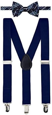 ボーイズ サスペンダー 蝶ネクタイセット タータンチェック柄 織布 あらかじめ結ばれている蝶ネクタイ