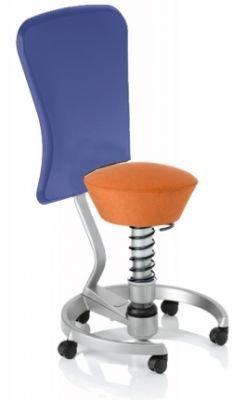 Aeris Swopper Classic - Bezug: Microfaser / Terracotta | Polsterung: Tempur | Fußring: Titan | Spezial-Rollen für Teppichböden | mit Lehne und blauem Microfaser-Lehnenbezug | Körpergewicht: SMALL