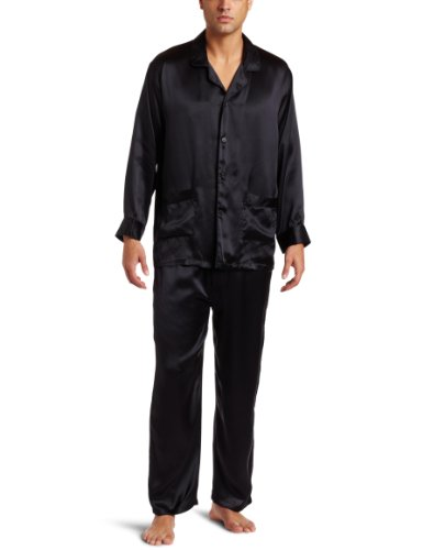 Intimo Men's Classic Silk Pajamas, Black, Small