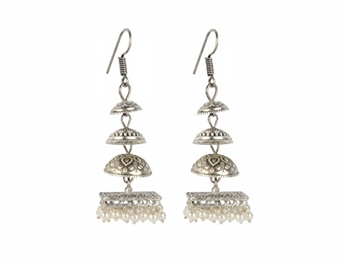 Sansar India Oxidized Handmade Four Level Jhumka Earrings for Girls and Women
