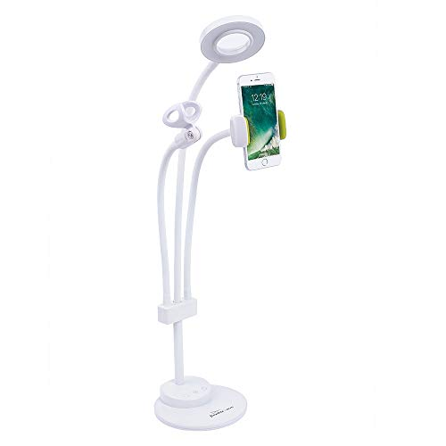 - Cell Phone Holder LED Desk Lamp Touch Control Selfie Ring Light Video Chat with Microphone Holder for Live Stream,Flexible Gooseneck Holder Lazy Bracket Table Lamp for Bedroom,Office Ect.