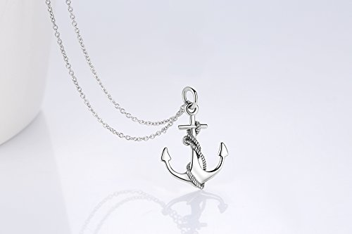 Sterling Silver 925 Necklace Pendant Vintage Large Navy Anchor Nautical Inspirational Jewelry 18″ (Vintage Anchor Necklace)