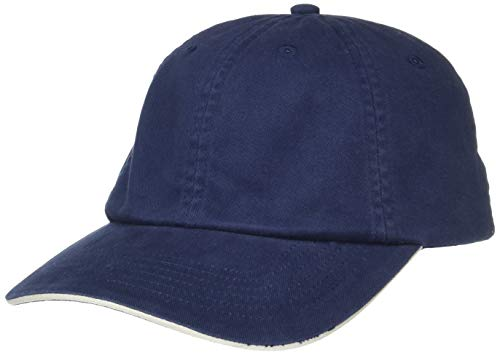 (UltraClubs Men's ULTC-8112-Brushed Cotton Twill Unconstructed Sandwich Cap, Navy/Stone One Size)
