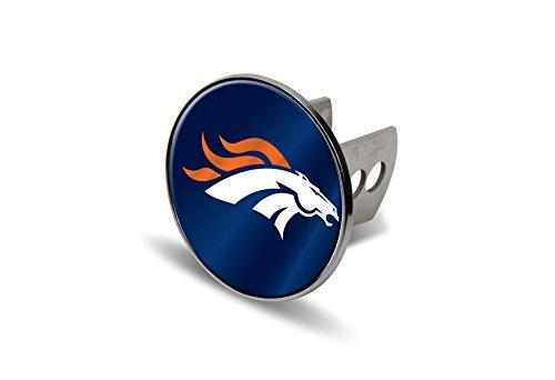 Rico NFL Denver Broncos Laser Cut Metal Hitch Cover, Large, (Denver Broncos Silver Laser)