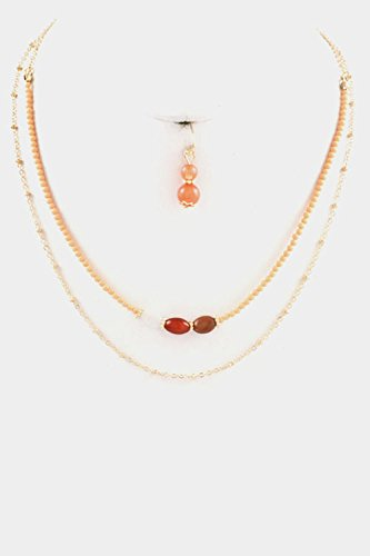 Peach Oval Beads - Karmas Canvas Beads Oval Gem Stone Accent with Thin Chain Necklace Set (Peach)