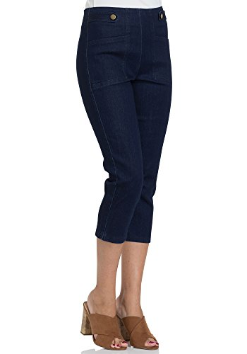 Voodoo Vixen Susie Women's Retro High Waist Tab Front Pinup Denim Capris (Medium, Dark Blue) (Jeans Pants Ribbon)