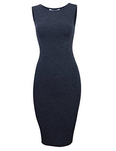 Tom's Ware Women's Classic Slim Fit Sleeveless Midi Dress TWCWD051-CHARCOAL-US M/L(Tag Size L)