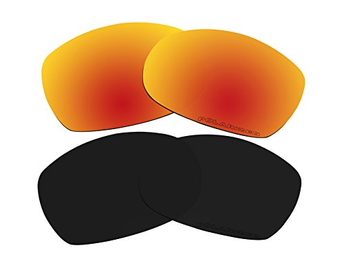2 Pairs Polarized Lenses Replacement Red & Black for Oakley Sideways ()
