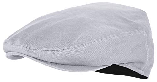 Cotton Newsboy - Premium Cotton Newsboy Mens Scally Solid Color Ivy Flat Cap (Gray, X-Large)
