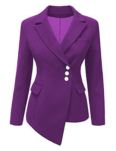 SEBOWEL Woman Blazer Asymmetrical Low High Slim Work Office Jacket Suit Purple XL ()