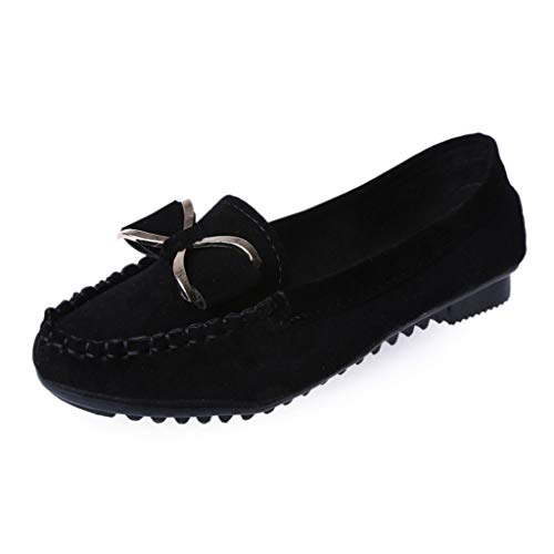 CCFAMILY Women Lazy Shallow Casual Shoes Ladies Solid Colors Shoes Girls Fashion Flat Bow Knot Slip On Shoes Black