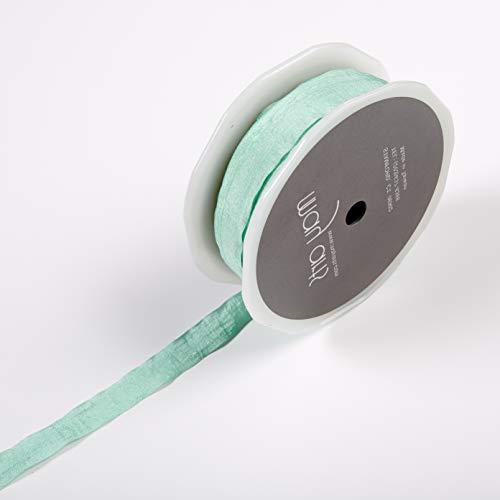 Faux Silk Ribbon - May Arts 1/2'' Faux Silk Wrinkled Ribbon (Roll 50 Yard) Robin's Egg Blue