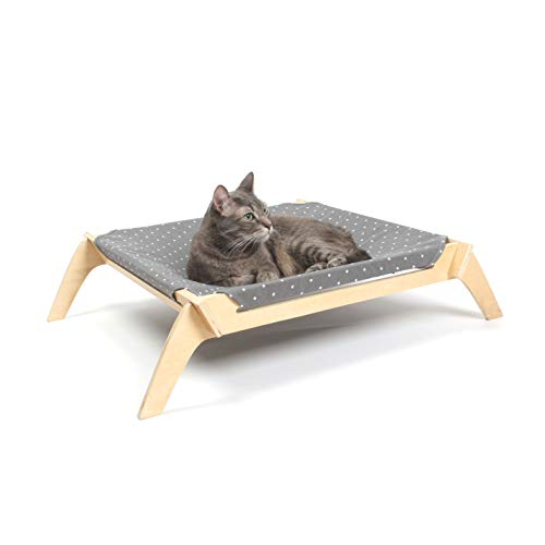 (Primetime Petz Pet Lounge, Raised Indoor Pet Bed for Cats or Small Dogs, Reversible Fabric Hammock (Neutral Paint Spots/Crosses))