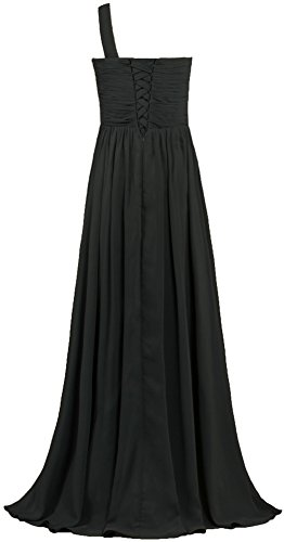 Women's One Long Bridesmaid ANTS Pleat Gown Shoulder Dresses Evening Black Chiffon ZBqdwU