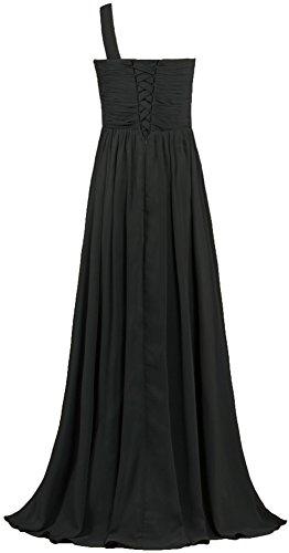 Mousseline De Soie Plissées De Fourmis Femmes Une Robes De Demoiselle D'honneur Épaule Robe Longue De Soirée Noire