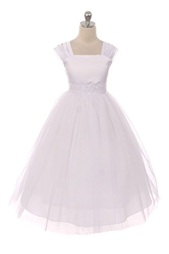 Kid's Dream This Flower Girl Communion Dress for Girls - Cap Sleeves and Satin Tulle Skirt with Elegant Lace Trim - Size 10, ()
