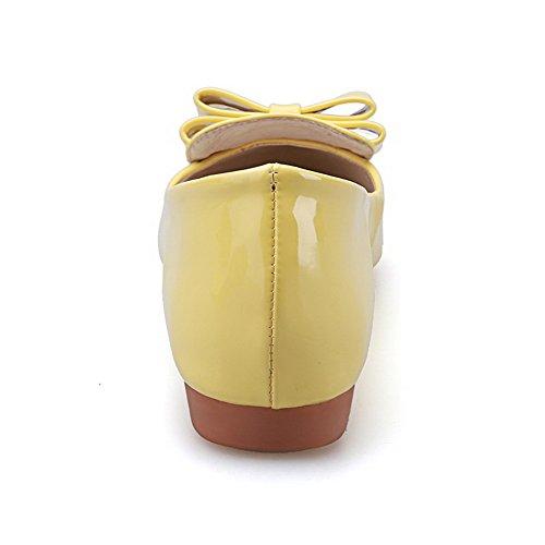 Sin Agoolar Salón Con Lazos Amarillo Tacón Cerrada Puntera De Mini Sólido Cordones Punta En Mujeres PggxqSX