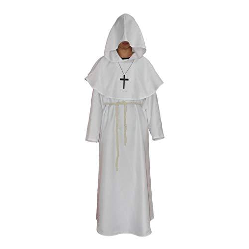 Irene Unisex Cosplay Costume Medieval Monks Robe Wizard Pastor Christians Dress White ()