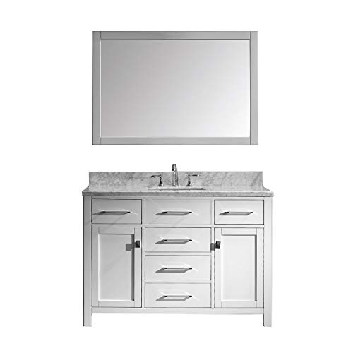 Virtu USA Caroline 48 inch Single Sink Bathroom Vanity Set in White - And Tops Bathroom At Vanities Mirrors Home With Depot