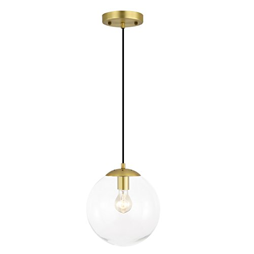 Light Society Zeno Globe Pendant, Clear Glass with Brass Finish, Contemporary Mid Century Modern Style Lighting Fixture LS-C175-BRS-CLR
