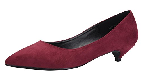 (Womens Classic Pointed Toe Slip On Dress Shoes Low Heel Pumps Wedding Shoe Wine Red Faux Suede Size US6 EU36)