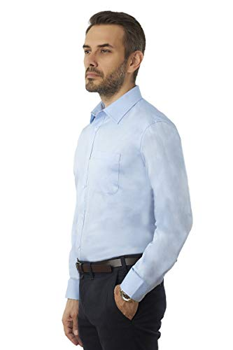 (Men's Long Sleeve Dress Shirt Regular Fit Solid Oxford Pinpoint Wrinkle Free Light Blue)