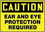 Accuform Signs® 7'' X 10'' Black And Yellow 0.040'' Aluminum PPE Sign ''CAUTION EAR AND EYE PROTECTION REQUIRED'' With Round Corner