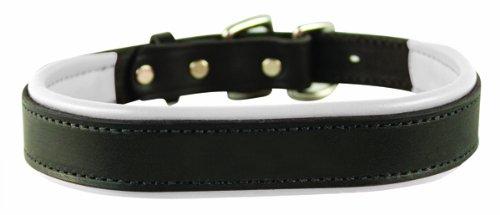Perri's Padded Leather Dog Collar, Black/White, Large1.25