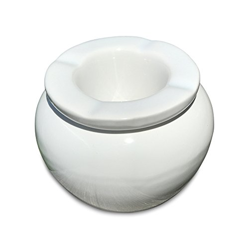 Whole House Worlds The Summer Time Ash Tray  2 Pieces  Holiday Resort White  Glazed Ceramic  4  Diameter  By