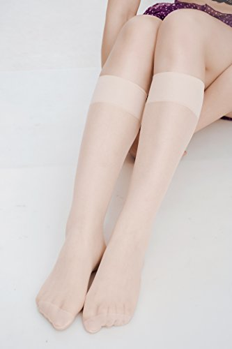552397fa0 Women s 6 Pack Silky Sheer Knee High trouser socks reinforced toe(skin)