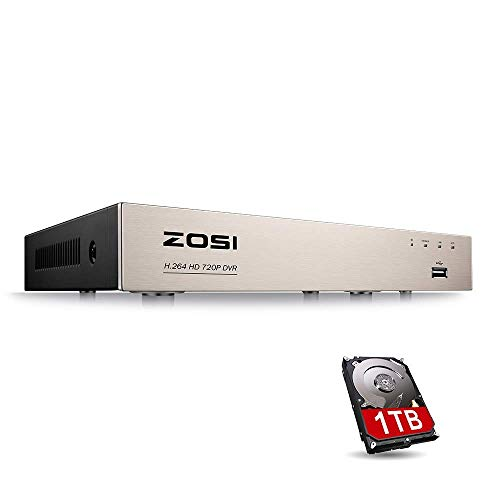 (ZOSI 1080N/720P 8CH 4-in-1 DVR HD TVI CCTV DVR Security System Network Motion Detection H.264 Digital Video Recorder for 720P,1080P Security Camera System with 1TB Hard Drive (Certified Refurbished))