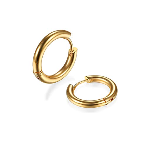 2Pcs 316L Surgical Stainless Steel Huggie Hoop Earrings 10mm Gold Plating Hinged Cartilage Piercing Sleeper Earrings for Men