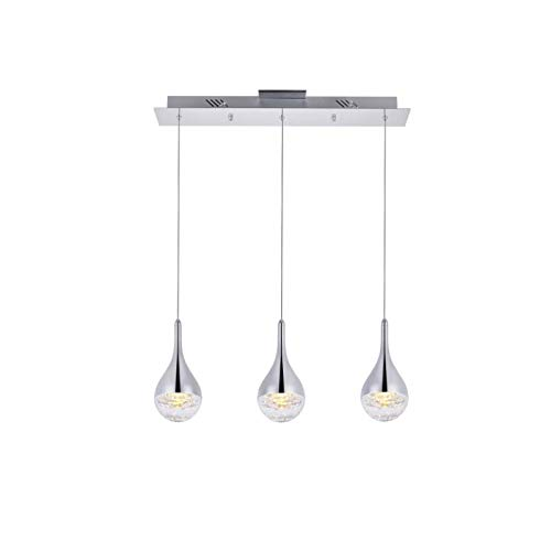 Elegant Lighting Amherst Collection LED 3-Light Chandelier 24in x 4in x 9in Chrome Finish Amherst Collection 3 Light