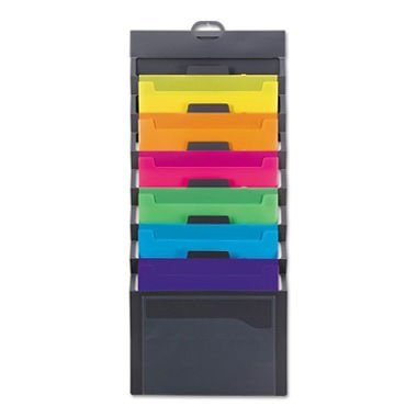 Smead Cascading Wall Organizer, 6 Pockets, Letter Size, Gray/Bright (92060) by Smead