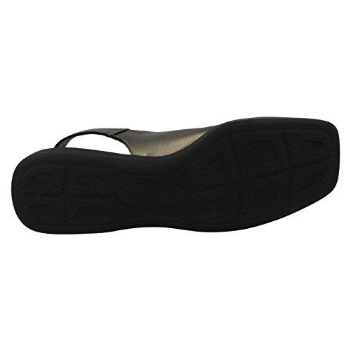 Ladies Nil Simile Leather Sandal 'Devon' Antique Pewter Softee F6a9EiDAJ