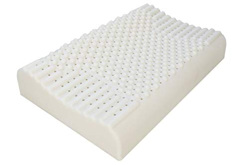Mr. Pillow Global Distributed JSY Massage Contour Natural Latex Pillow (Made in Thailand), Latex Foam Soft to Medium Firm Breathable Kool-Flow Comfortable for Cervical Support Sleeping Bed Pillow