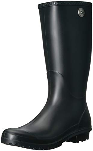 UGG Women's Shelby Matte Rain Boot, Black, 8 M US ()