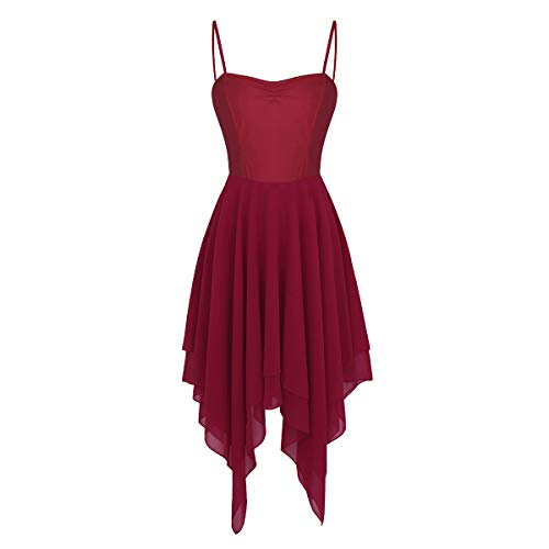 inlzdz Women's Lyrical Asymmetric Chiffon Ballet Dance Dress Sweetheart Performance High-Low Skirt Wine_Red Medium ()