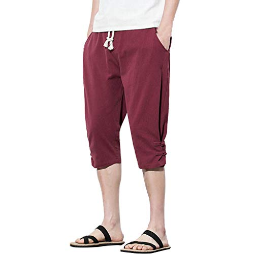 SFE Men's Leisure Pure Color Button Linen Loose Calf Length Pants Casual Party Holiday Summer Fashion New 2019 Wine