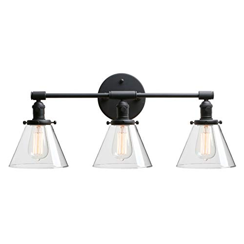 """Phansthy Bathroom Vanity Lamp Black Wall Sconce Light Fixture with 7.3"""" Cone Clear Glass Canopy, Black (Cone Light Fixture)"""