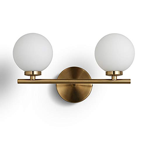 BOKT Mid-Century Modern Wall Sconce, Gold with Glass Globe,Double Lights Wall Lamp for Bathroom Bedroom Living Room Hallway