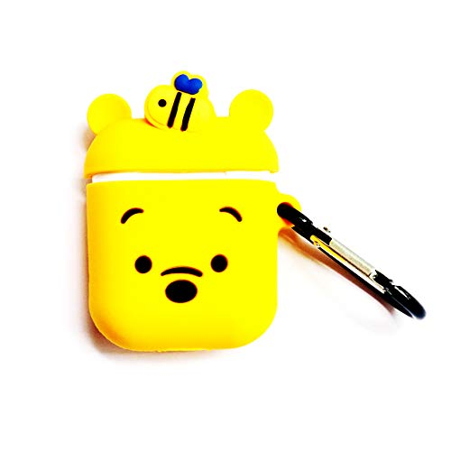 IDBI for Airpods 1&2 Case,Cute 3D Funny Cartoon Character Soft Silicone Airpod Cover,Kawaii Fun Cool Catalyst Keychain Design Skin,Fashion Yellow Cases for Girls Kids Teens Boys Air pods Honey Winnie