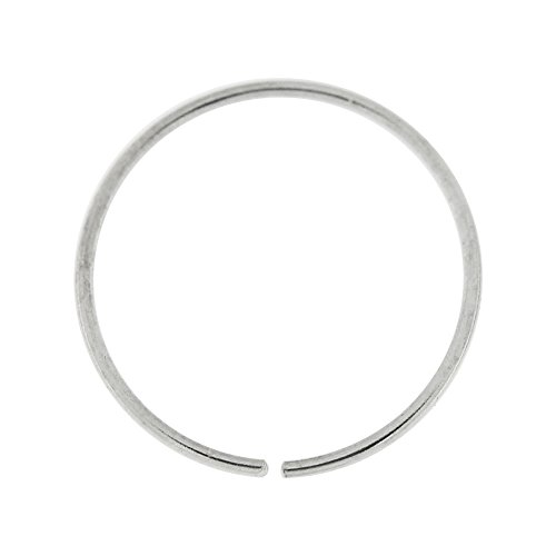 PiercingPoint 14 Karat Solid White Gold 22 Gauge (0.6MM) - 3/8 Inch (10MM) Length Seamless Continuous Nose Hoop Ring (White Gold Nose Hoop 22 Gauge)