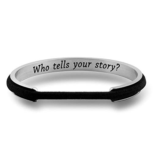 WUSUANED Who Tells Your Story Hamilton Quote Hair Tie Deep Grooved Cuff Bracelet Broadway Musical Fan Gift