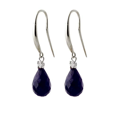 14k Solid White Gold Fish Hook Earrings with Natural Diamonds and Natural Blue Sapphires