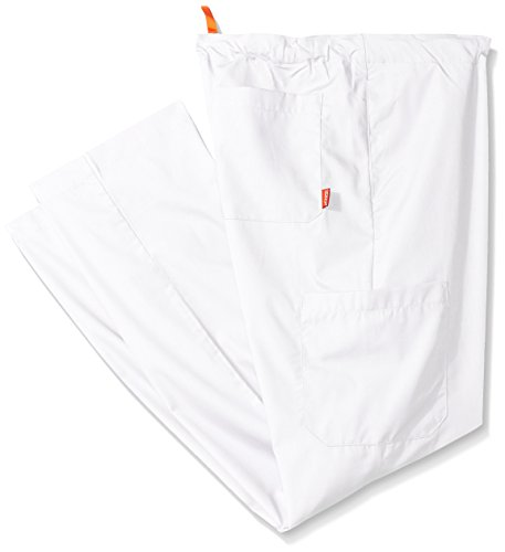 (Orange Standard Men's Big and Tall Huntington Unisex Scrub Pants with Drawstring Waist and 4 Pockets, White, 4X/Short)