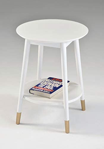 White Finish Mid Century Round Side End Table